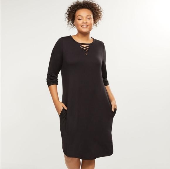 LIVI Active Lattice Neckline Pocket Dress